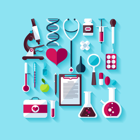 medical instruments: Khái niệm y tế. Thiết kế phẳng. Hình minh hoạ