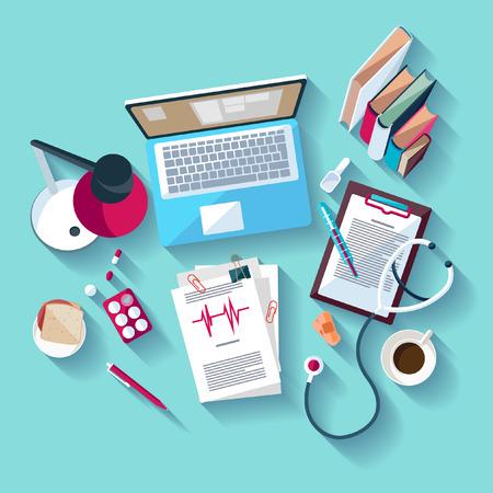 estetoscopio: Lugar de trabajo médico. Diseño plano.
