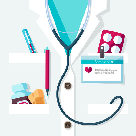 white coat: Medical concept. Flat design.