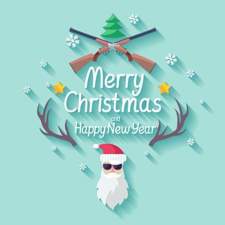 santas: Merry Christmas. Flat design. Illustration