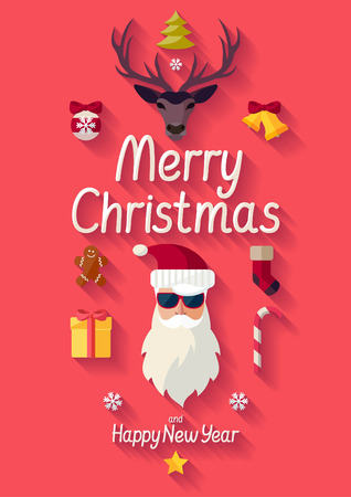 Merry Christmas. Flat design. Vector