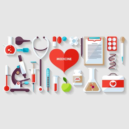 Medizinische Konzept. Flache Bauweise. Standard-Bild - 33242635