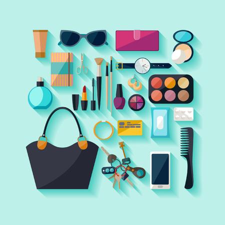 accessories: Women accessories. Flat design.