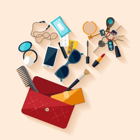 smart phone woman: Open female bag. Flat design.