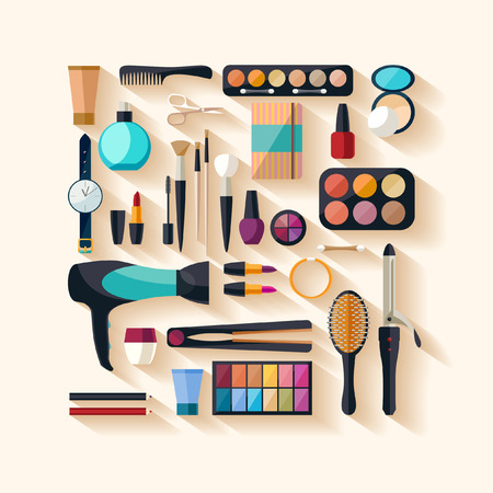 flat brush: Tools for makeup. Flat design.