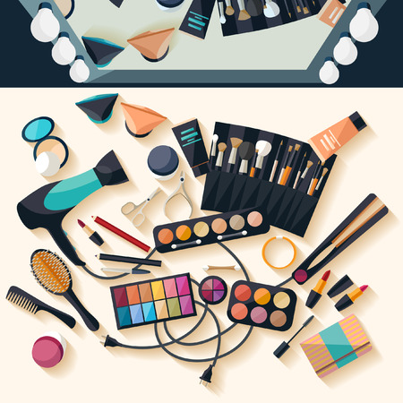 female beauty: Workspace for makeup. Flat design.