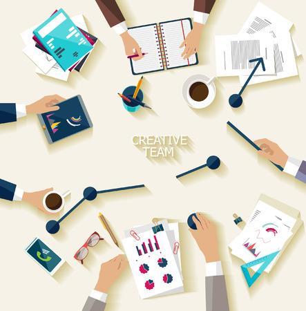 escritorio: Reunión de negocios y de intercambio de ideas. Diseño plano.