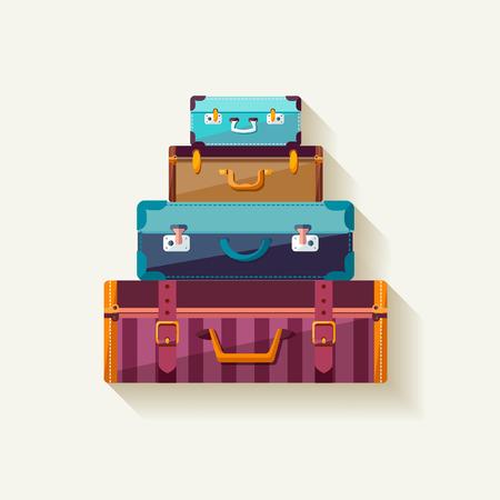 valigia: Montagna valigie dell'annata. Vettoriali