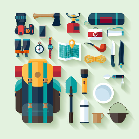 scouts: Camping equipment. Flat design. Illustration