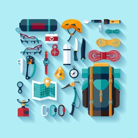 equipment: Climbing equipment. Flat design.
