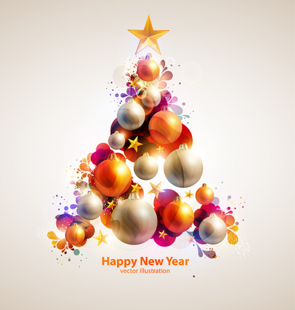 gold background: Abstract christmas tree. Illustration