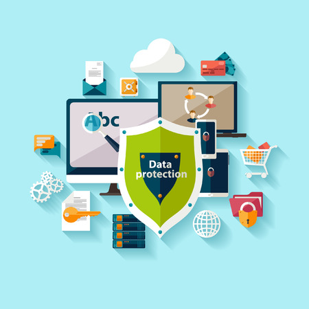 security icon: Data protection and safe work. Flat design.