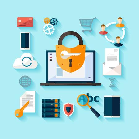 Gegevensbescherming en veilig werken. Plat ontwerp.