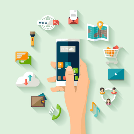 smartphone apps: Modern technology concept. Flat design. Illustration