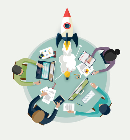 rocket man: Startup concept. Flat design.