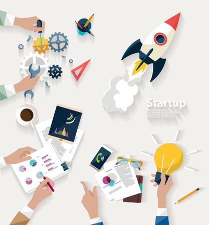 estação de trabalho: Conceito Startup. Design plano.