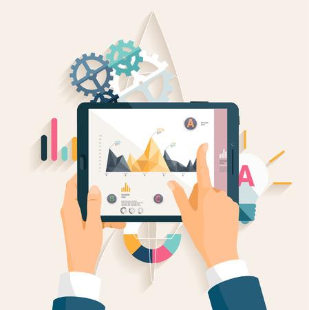 digital tablet: Market analysis. Flat design.