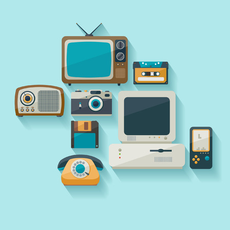 the outdated: Outdated technology. Flat design.