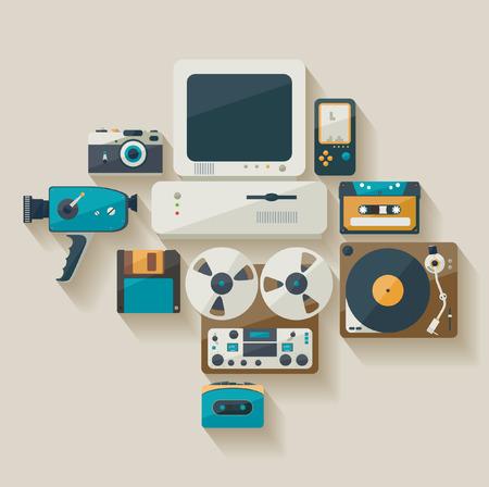 Obsolete technology. Flat design.