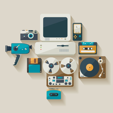 old pc: Obsolete technology. Flat design. Illustration
