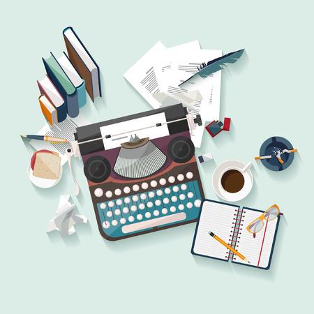 the typewriter: Escritor lugar de trabajo. Dise�o plano.