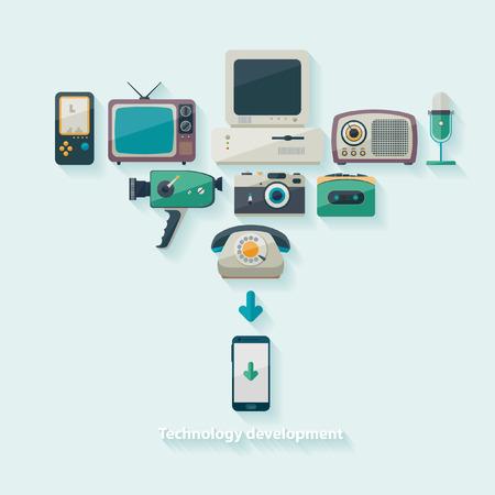 television antigua: El progreso científico y técnico. Diseño plano.