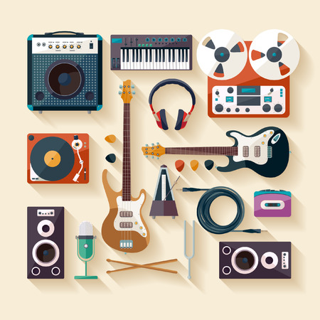 play music: Musical instruments. Flat design.