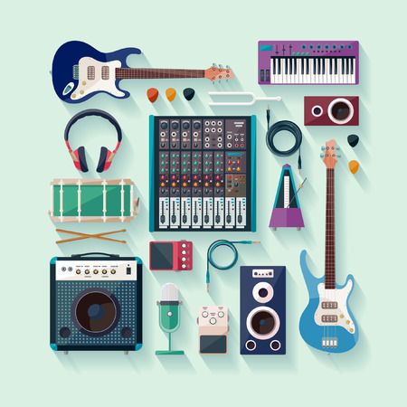 mike: Music creation. Flat design. Illustration