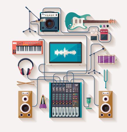 equipo de sonido: La creación musical. Diseño plano. Vectores