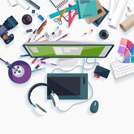 escritorio: Concepto de lugar de trabajo. Diseño plano.