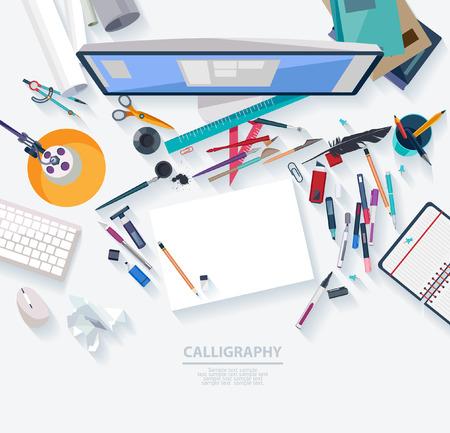 pupitre: Caligrafía - concepto del lugar de trabajo. Diseño plano. Vectores
