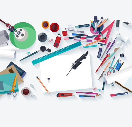 designer: Calligraphy - Workplace concept. Flat design.