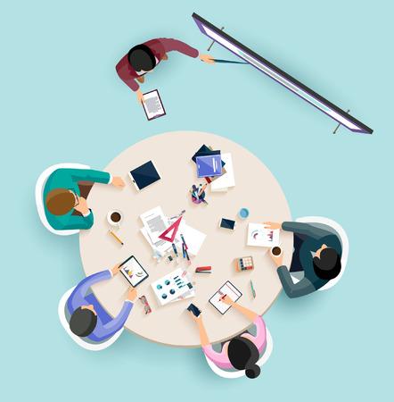 reunion de trabajo: Presentación del asunto. Diseño plano.