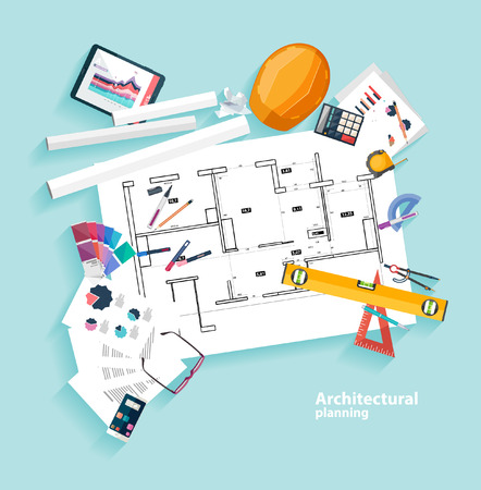 architect tools: Architects workplace. Flat design.