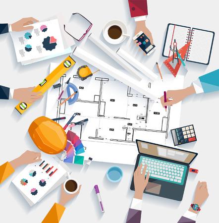 Architecten werkplek. Platte design.
