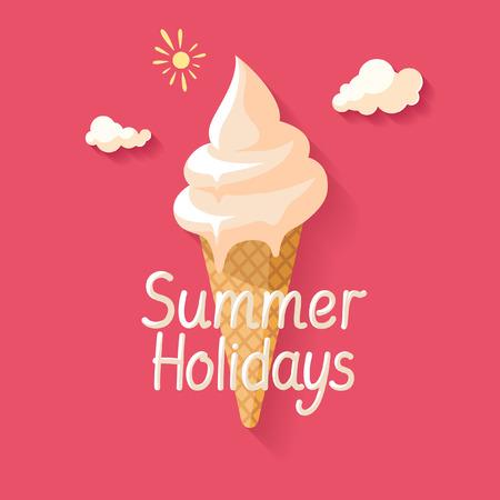 icecream: Melting ice cream. Flat design. Illustration
