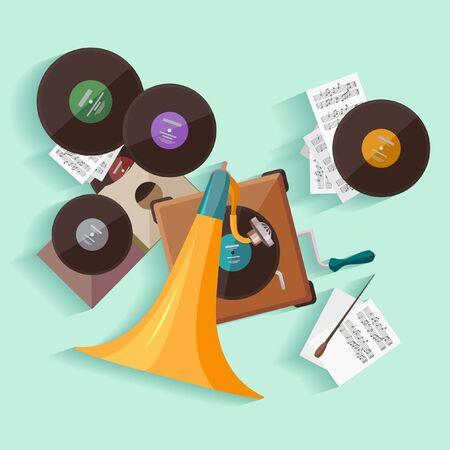 notes music: Old gramophone. Flat design.