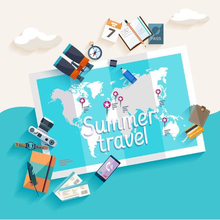 旅遊: 夏季旅遊。扁平設計。