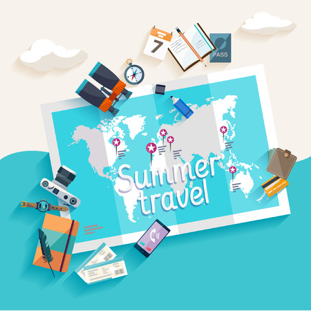symbol tourism: Summer travel. Flat design.