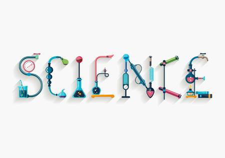 typographic: Science - typographic composition - Flat design.