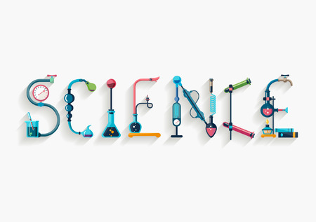 Science - typographic composition - Flat design.