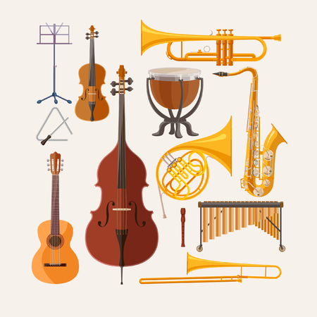 Music instruments. Flat design. Vectores