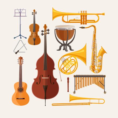 orquesta clasica: Instrumentos musicales. Dise�o plano.