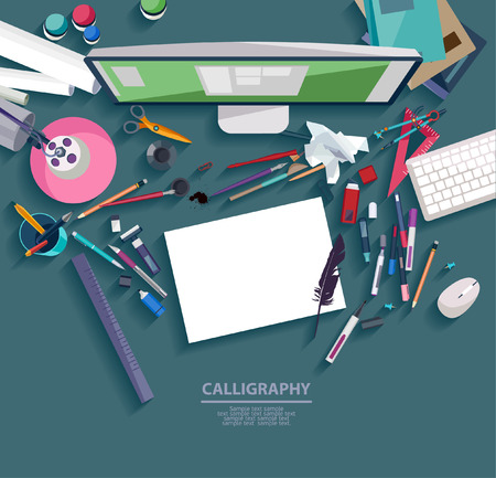 the designer: Calligraphy - Workplace concept. Flat design.