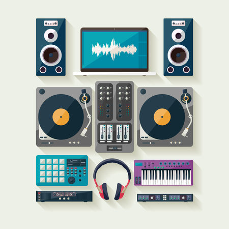 dj turntable: Dj equipment. Flat design.