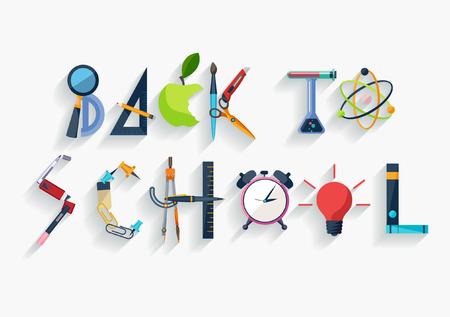set symbols: Back to school - typographic composition - Flat design