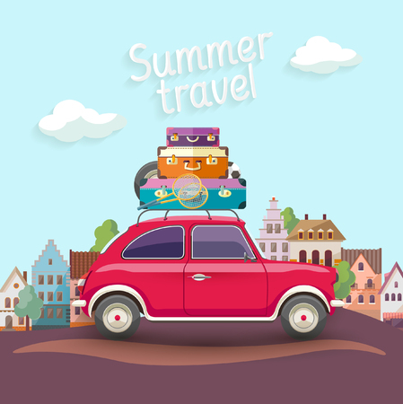 """bagagli: Viaggiare in macchina. Design piatto con il testo """"viaggio estivo"""" Vettoriali"""