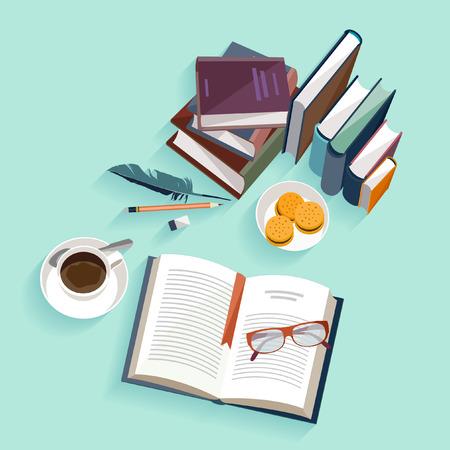 lectura: Libros de lectura. Diseño plano.