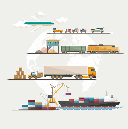 ship parcel: Global freight transportation. Flat design.