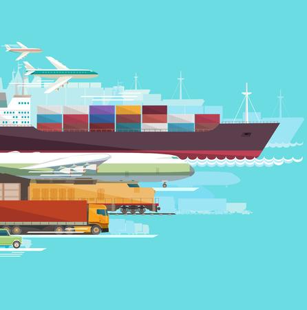 世界規模の輸送。フラットなデザイン。